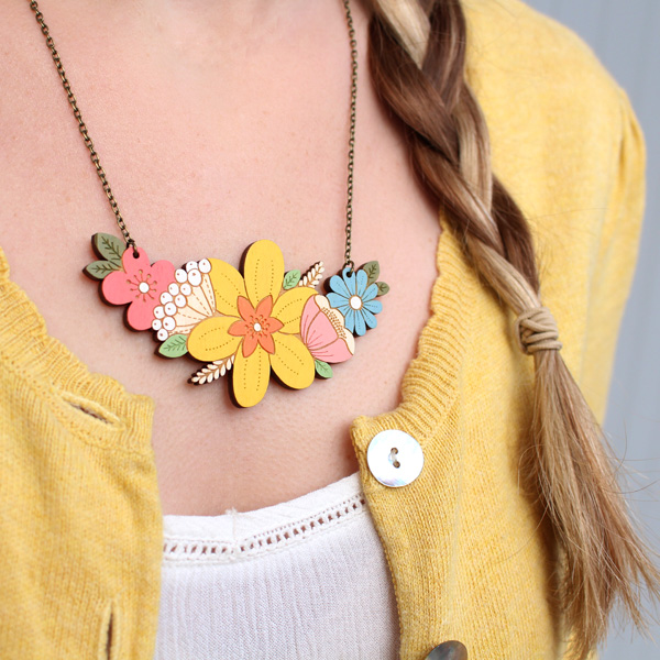 daffodil flower necklace by layla amber